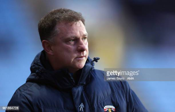 Mark Robins the head coach / manager of Coventry City during The Emirates FA Cup Third match between Coventry City and Stoke City at Ricoh Arena on...
