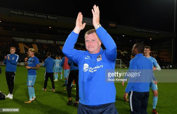 Mark Robins the manager of Coventry City celebrates after the Sky Bet League Two Play Off Semi FinalSecond Leg between Notts County and Coventry City...