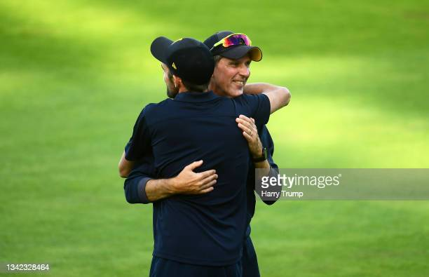 Mark Robinson, First Team Coach of Warwickshire celebrates following Day Four of the LV= Insurance County Championship match between Warwickshire and...
