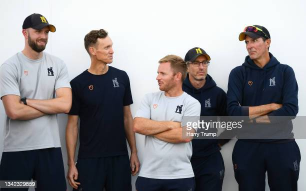Mark Robinson, First Team Coach of Warwickshire looks on alongside their coaching staff following Day Four of the LV= Insurance County Championship...