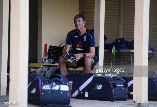 Mark Robinson Head Coach of England looks on during an England Nets Session at Coolidge Cricket Ground on November 20 2018 in Antigua Antigua and...