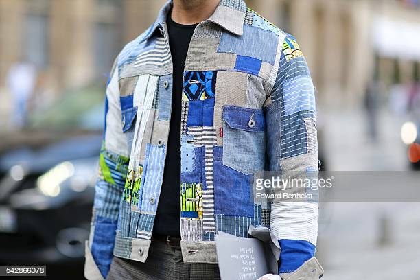 Mark Rofsky is wearing sunglasses gray pants and a Junya Watanabe jacket after the Cerruti show during Paris Fashion Week Menswear Spring/summer 2017...