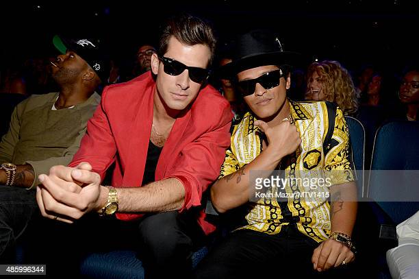 Mark Ronson and Bruno Mars attend the 2015 MTV Video Music Awards at Microsoft Theater on August 30 2015 in Los Angeles California