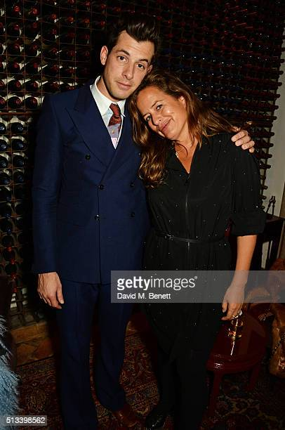 Mark Ronson and Jade Jagger attend Mark Ronson's performance at Annabel's on March 2 2016 in London England