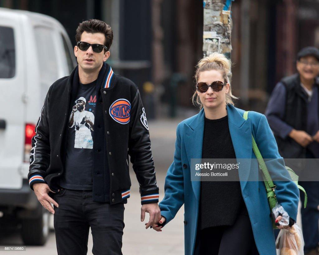Mark Ronson and Josephine de La Baume are seen walking in SoHo on December 6, 2017 in New York, New York.