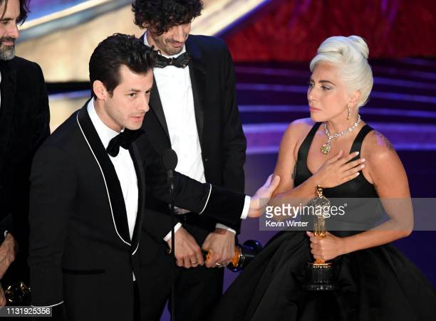 Mark Ronson and Lady Gaga accept he Music award for 'Shallow' from 'A Star Is Born' onstage during the 91st Annual Academy Awards at Dolby Theatre on...