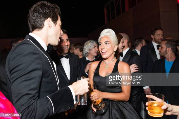 Mark Ronson and Lady Gaga attend the 2019 Vanity Fair Oscar Party hosted by Radhika Jones at Wallis Annenberg Center for the Performing Arts on...