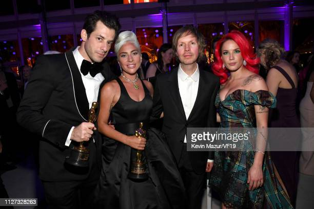 Mark Ronson and Lady Gaga winners Best Music award for 'Shallow' from 'A Star Is Born' Beck and Halsey attend the 2019 Vanity Fair Oscar Party hosted...