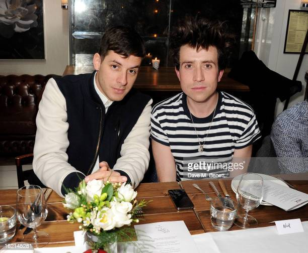 Mark Ronson and Nick Grimshaw attend as Nick Grimshaw hosts his first annual award season dinner at Hix in association with Philips Sound on February...
