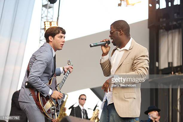 Mark Ronson and Rhymefest perform at the 2008 Lollapalooza music festival at Grant Park on August 3 2008 in Chicago Illinois