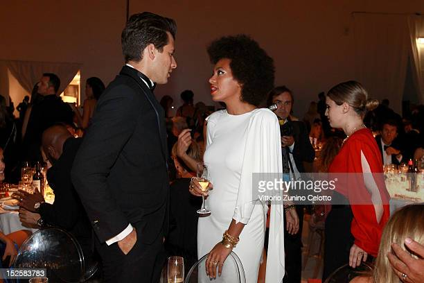 Mark Ronson and Solange Knowles attend the amfAR Milano 2012 Dinner during Milan Fashion Week at La Permanente on September 22 2012 in Milan Italy