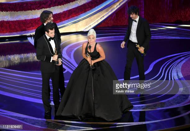 Mark Ronson Andrew Wyatt Lady Gaga and Anthony Rossomando accept the Music award for 'Shallow' from 'A Star Is Born' onstage during the 91st Annual...