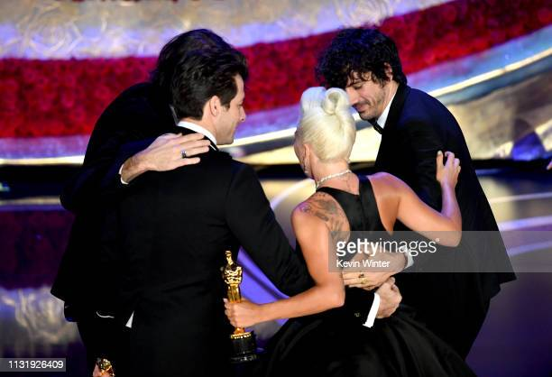 Mark Ronson Anthony Rossomando Andrew Wyatt and Lady Gaga accept the Best Original Song award for Shallow onstage during the 91st Annual Academy...