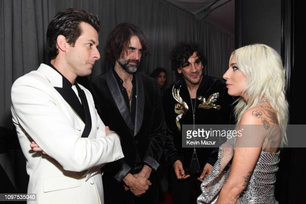 Mark Ronson Anthony Rossomando Andrew Wyatt and Lady Gaga attend the 61st Annual GRAMMY Awards at Staples Center on February 10 2019 in Los Angeles...