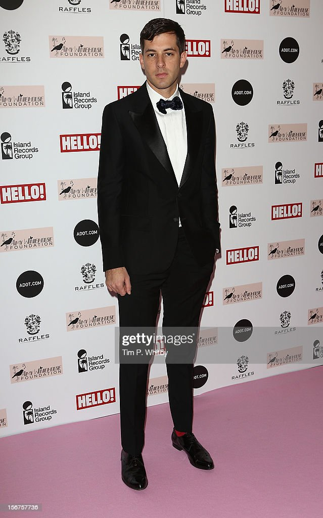 Mark Ronson attends The Amy Winehouse Foundation Ball at The Dorchester Hotel on November 20, 2012 in London, England.