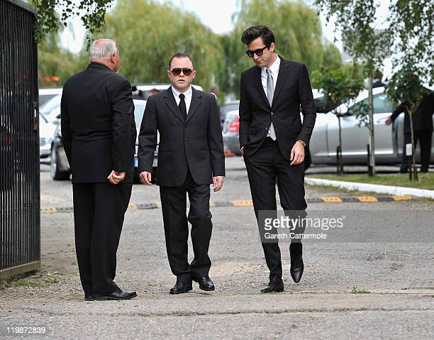 Mark Ronson attends the funeral service of singer Amy Winehouse at Edgwarebury Lane cemetery on July 26 2011 in London England