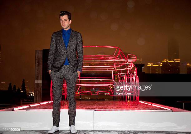 Mark Ronson for a picture with Range Rover Evoque wireframe at outside the Waterhouse on May 21 2011 in Shanghai China