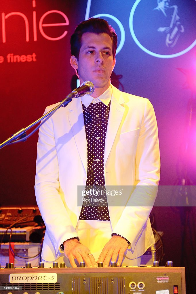 Mark Ronson performs at the afterparty following the opening of Gucci's pop-up sneaker store, at Ronnie Scott's on April 21, 2010 in London, England.