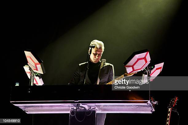Mark Ronson performs on stage with his band The Business Intl at Hackney Empire on September 29 2010 in London England