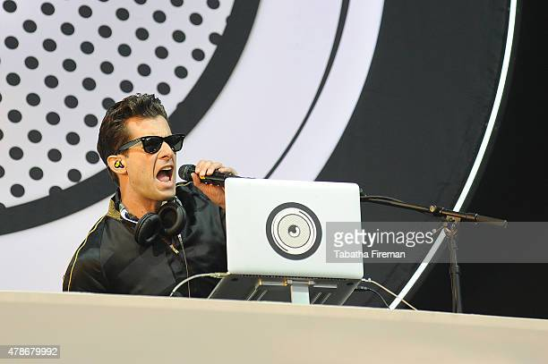 Mark Ronson performs on the Other stage at the Glastonbury Festival at Worthy Farm Pilton on June 26 2015 in Glastonbury England