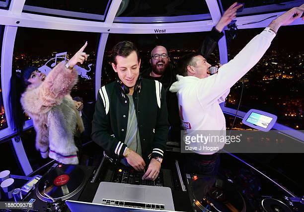 Mark Ronson performs with support from Lily Allen at Red Bull Revolutions in Sound on the EDF Energy London Eye a celebration of UK club culture with...