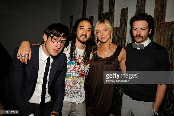 Mark Ronson Steve Aoki Laura Prepon and Danny Masterson attend SHIN Restaurant Opening at Shin on October 13 2008 in Hollywood CA
