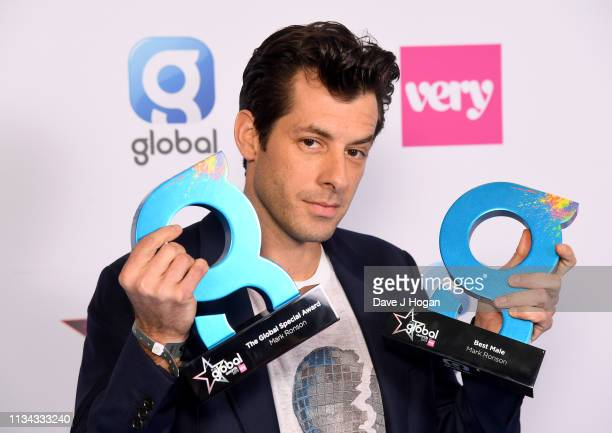 Mark Ronson wins the Global Special and Best Male Award at the The Global Awards with Verycouk at Eventim Apollo Hammersmith on March 07 2019 in...