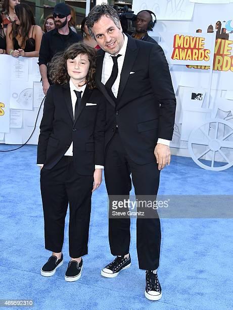 Mark Ruffalo and Bella Noche Ruffalo arrives at the 2015 MTV Movie Awards at Nokia Theatre LA Live on April 12 2015 in Los Angeles California