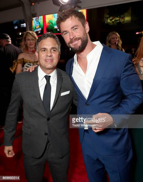 Mark Ruffalo and Chris Hemsworth attend the premiere of Disney And Marvel's 'Thor Ragnarok' on October 10 2017 in Los Angeles California