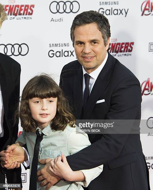 Mark Ruffalo and his daughter Bella Noche Ruffalo attend the premiere of Marvel's Avengers Age Of Ultron at the Dolby Theatre on April 13 2015 in...