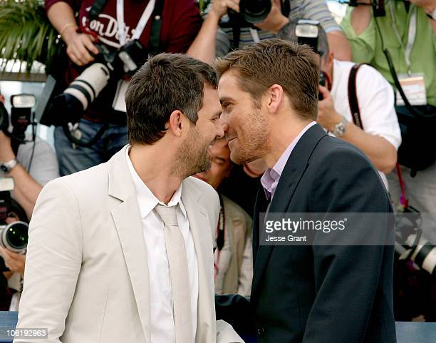 Mark Ruffalo and Jake Gyllenhaal during 2007 Cannes Film Festival 'Zodiac' Photocall at Palais de Festival in Cannes France