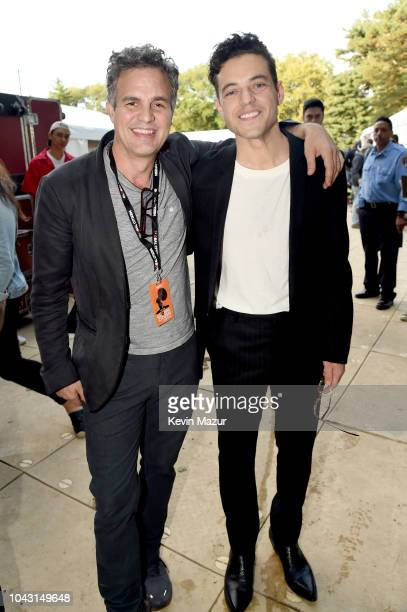 Mark Ruffalo and Rami Malek pose backstage during the 2018 Global Citizen Festival Be The Generation in Central Park on September 29 2018 in New York...