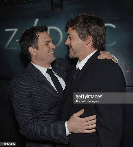 Mark Ruffalo and Robert Downey Jr during Zodiac Los Angeles Premiere Arrivals at Paramount Studios in Hollywood California United States