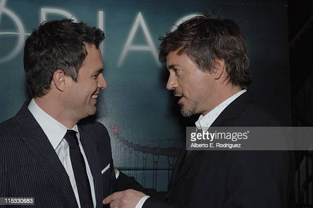 Mark Ruffalo and Robert Downey Jr during 'Zodiac' Los Angeles Premiere Arrivals at Paramount Studios in Hollywood California United States