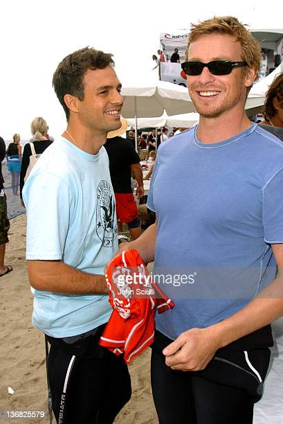 Mark Ruffalo and Simon Baker during Rip Curl Presents Sand Glam Benefitting Heal the Bay Celebrity Surfing Competition at Malibu Surfrider Point in...