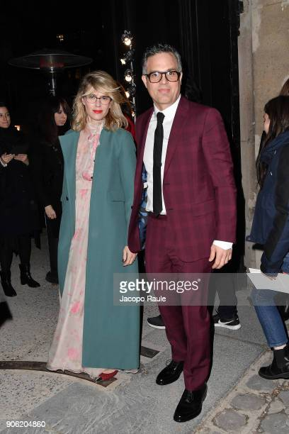 Mark Ruffalo and Sunrise Coigney are seen arriving at Valentino Menswear Fall/Winter 20182019 show as part of Paris Fashion Week on January 17 2018...