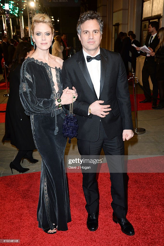 Mark Ruffalo (R) and Sunrise Coigney attend the EE British Academy Film Awards at The Royal Opera House on February 14, 2016 in London, England.