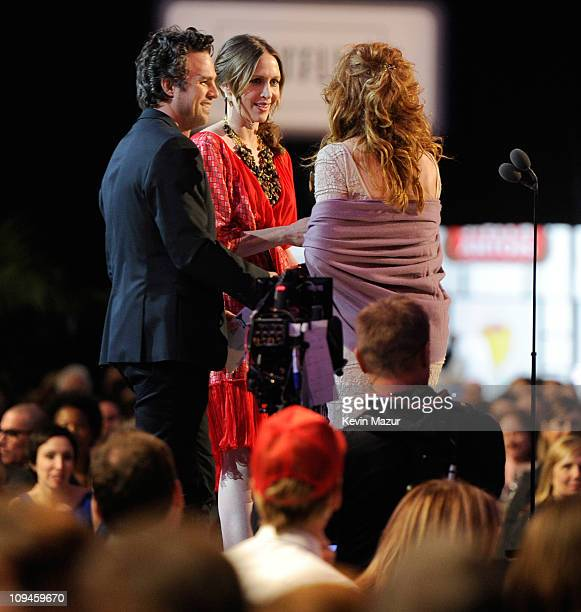 Mark Ruffalo and Vera Farmiga present award to Dale Dickey onstage during the 2011 Film Independent Spirit Awards at Santa Monica Beach on February...