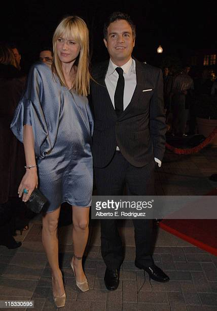 Mark Ruffalo and wife Sunrise during Zodiac Los Angeles Premiere Arrivals at Paramount Studios in Hollywood California United States