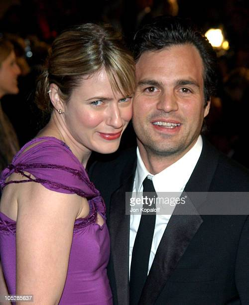 Mark Ruffalo and wife Sunrise Ruffalo during 2004 Vanity Fair Oscar Party at Mortons in Beverly Hills California United States