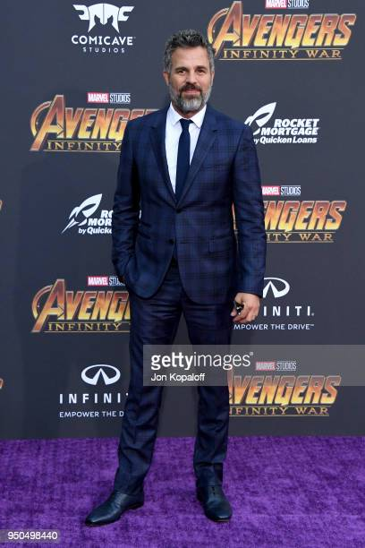Mark Ruffalo attends the premiere of Disney and Marvel's 'Avengers Infinity War' on April 23 2018 in Los Angeles California
