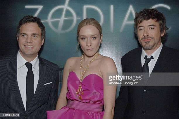 Mark Ruffalo Chloe Sovigny and Robert Downey Jr during 'Zodiac' Los Angeles Premiere Arrivals at Paramount Studios in Hollywood California United...