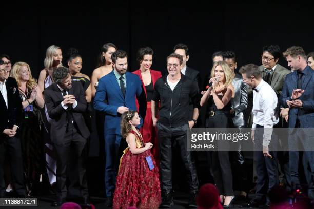 Mark Ruffalo Chris Evans Alexandra Rabe Robert Downey Jr Scarlett Johansson Jeremy Renner and Chris Hemsworth speak onstage during the Los Angeles...