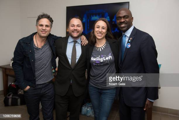 Mark Ruffalo Corey Johnson Adrienne Lever and Michael Blake attend Swing Left's 'The Last Weekend' Election Rally at Cooper Union on November 1 2018...
