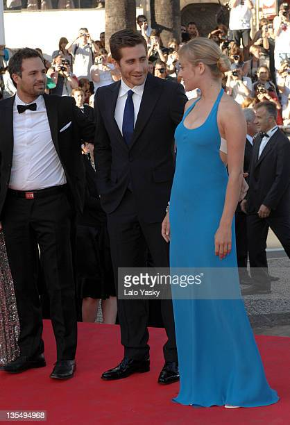 Mark Ruffalo Jake Gyllenhaal and Chloe Sevigny during 2007 Cannes Film Festival Zodiac Premiere at Palais de Festival in Cannes France