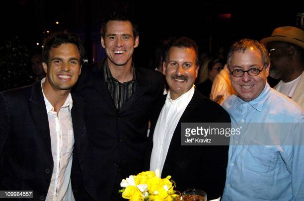 Mark Ruffalo Jim Carrey Craig Kornblau President Universal Studios Home Video and James Schamus CoPresident of Focus Features at the DVD Launch party...
