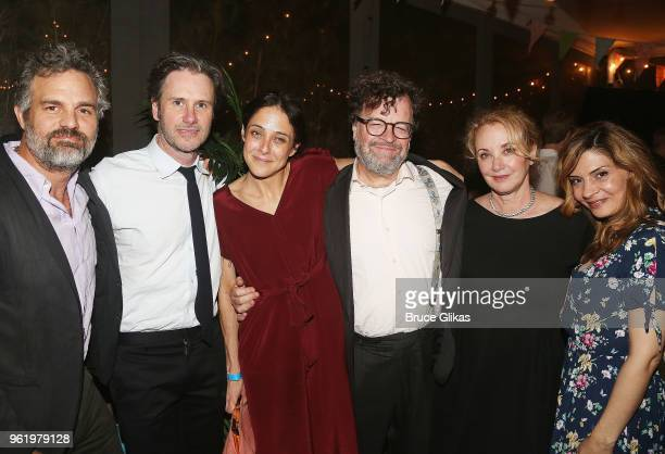 Mark Ruffalo Josh Hamilton wife Playwright Lily Thorne Kenneth Lonergan wife J Smith Cameron and Callie Thorne pose at the opening night after party...