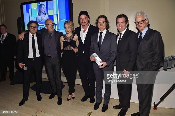 Mark Ruffalo, Michael Keaton, Rachel McAdams, Liev Schreiber, Billy Crudup, Brian d'Arcy James and John Slattery pose with an award at the 25th IFP...