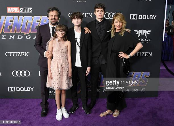Mark Ruffalo Odette Ruffalo Bella Noche Keen Ruffalo and Sunrise Coigney attend the world premiere of Walt Disney Studios Motion Pictures Avengers...