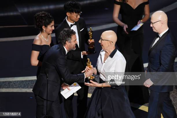 Mark Ruffalo presents the Documentary Feature award for 'American Factory' to Julia Reichert and Steven Bognar onstage during the 92nd Annual Academy...